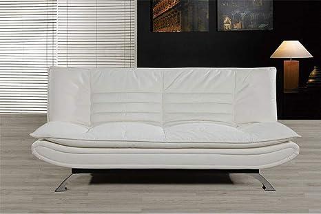 HOGAR 24 Sofá Cama Clic Clac Piel Ecológica y Patas Cromadas, Color Blanco.