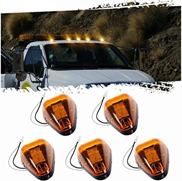 Amazon Com 5pcs Amber Lens Amber Led Cab Roof Marker Lights Komas Roof Top Lamp Clearance Running Light Replacement For Truck Suv Ford 1999 2016 E F Super Duty Amber Lens Amber Led Automotive
