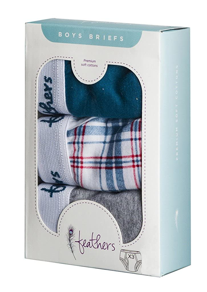 3//pack Feathers Boys Multi Plaid Tagless Briefs Underwear