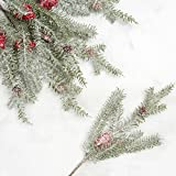 Factory Direct Craft Frosted Red Berry and Pine Picks for Holiday Decorating - 12 Picks