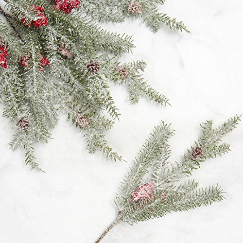 Factory Direct Craft Frosted Red Berry and Pine Picks for Holiday Decorating - 12 - Pine Frosted Berry