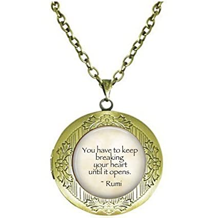 Amazon Rumi Healing Quote Locket Necklace Inspirational