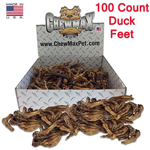 - ChewMax Roasted Duck Feet 100 Count of 100% Natural Roasted Duck Feet Made in the USA