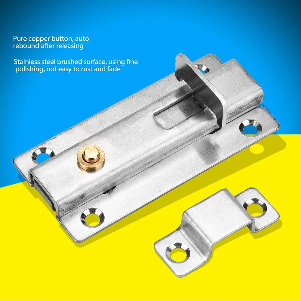 2Pcs Security Door Automatic Latch Pin Stainless Steel Door Bolt Security Door Automatic Button Latch Accessories 3in