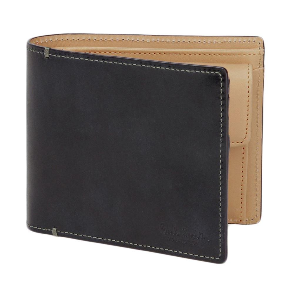 [名入れ可] Paul Smith ポールスミス BILLFOLD AND COIN WALLET PC ステイン カーフ ウォレット 二つ折り 財布 B06XGVS1KQ 名入れあり|ブラック ブラック 名入れあり