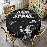 """Round Tablecloth Vintage 55"""" Inch Round Astronaut,The Race to Space Retro Image"""