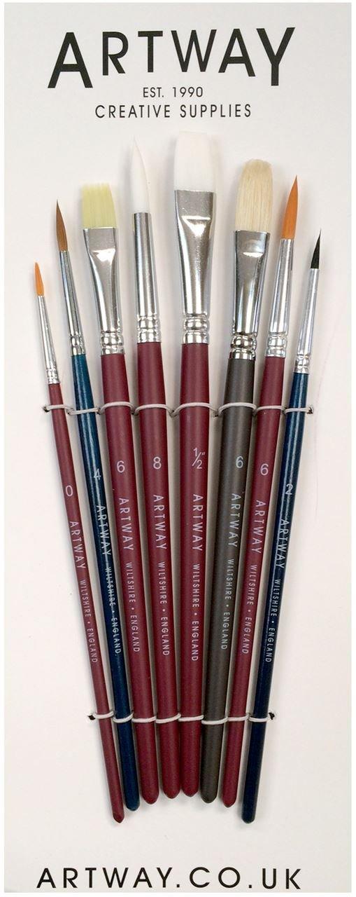 Artway - Set di pennelli da pittura - Nylon e vera setola di zibellino - Confezione da 8 con: pennello tondo, piatto, lingua di gatto, e per filettare