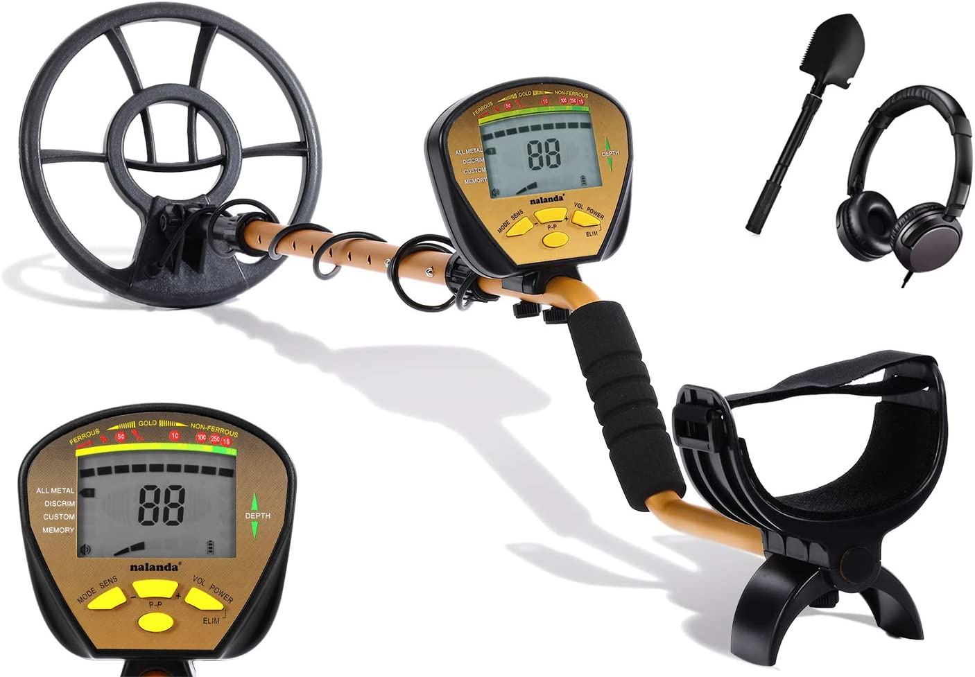 NALANDA 18 kHz Metal Detector with 5 Detection Modes, Outdoor Gold Digger Handheld Metal Finder with Adjustable Sensitivity Waterproof Search Coil LCD Display (Included Foldable Shovel and Headphone)