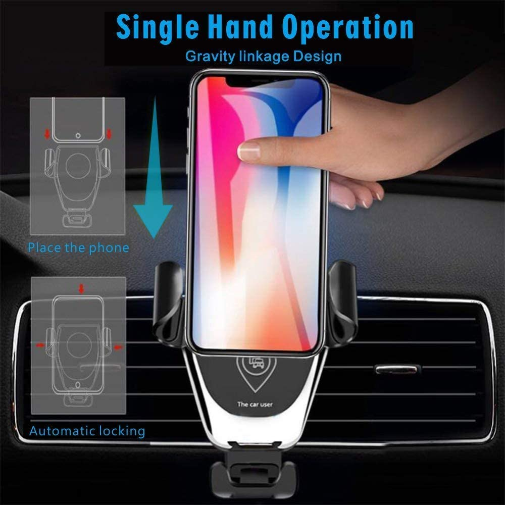 Phone Xs Max XR X 8 Plus Car Phone Mount with Air Vent Clip Wireless Car Charger Mount Black 10W 7.5W Qi Fast Charging Air Vent Phone Holder,Compatible with S10+ S10e S9 Note 9