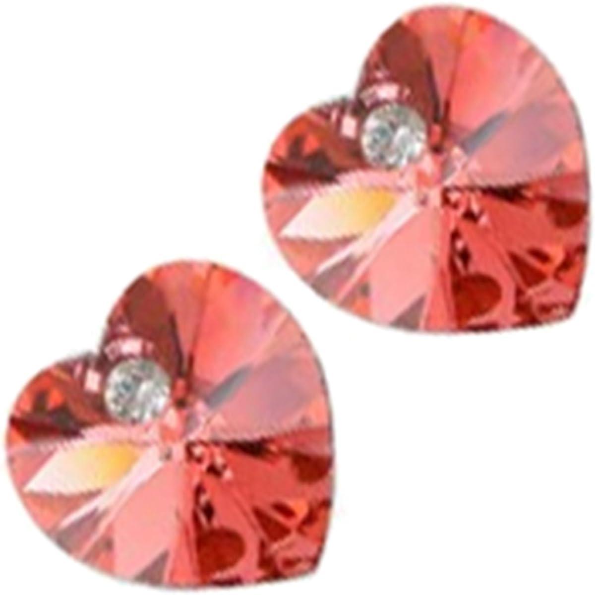 GWG Jewellery Pendientes Mujer Regalo Pendientes de Botón Pequeños, Chapados en Plata de Ley Cristal Colorado en Forma de Corazón para Mujeres