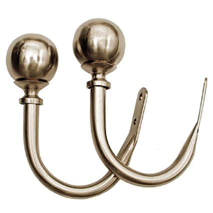 Deco Window (Set of 2) Holdback/Curtain Tieback Round Satin Silver