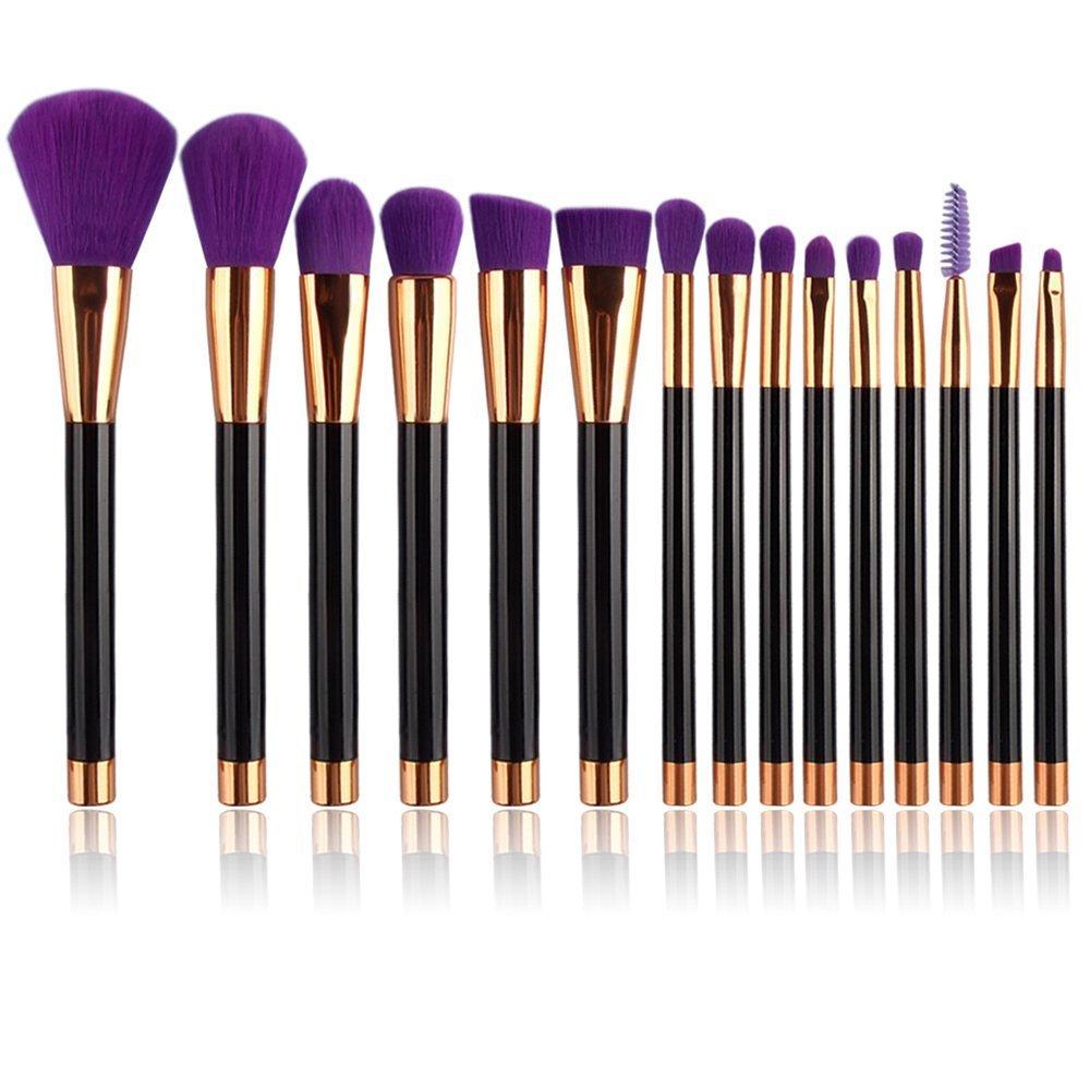 UNIMEIX Make-up Pinsel, 15 Stück Augen Rose Gold Make-up Pinsel Set, helle Farbe Griff, weiche seidig Make-up Pinsel Set mit transparenten Silikon-Mixer, 4 Farben (Grün) 4 Farben (Grün) CS-15-0419