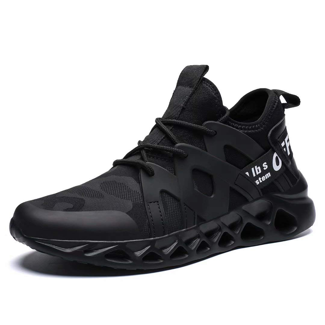 Pozvnn Men's Sneakers Mesh Ultra Lightweight Breathable Athletic Running Walking Gym Shoes Fashion Personality Shoe Outdoor Sport All/Black46 by Pozvnn