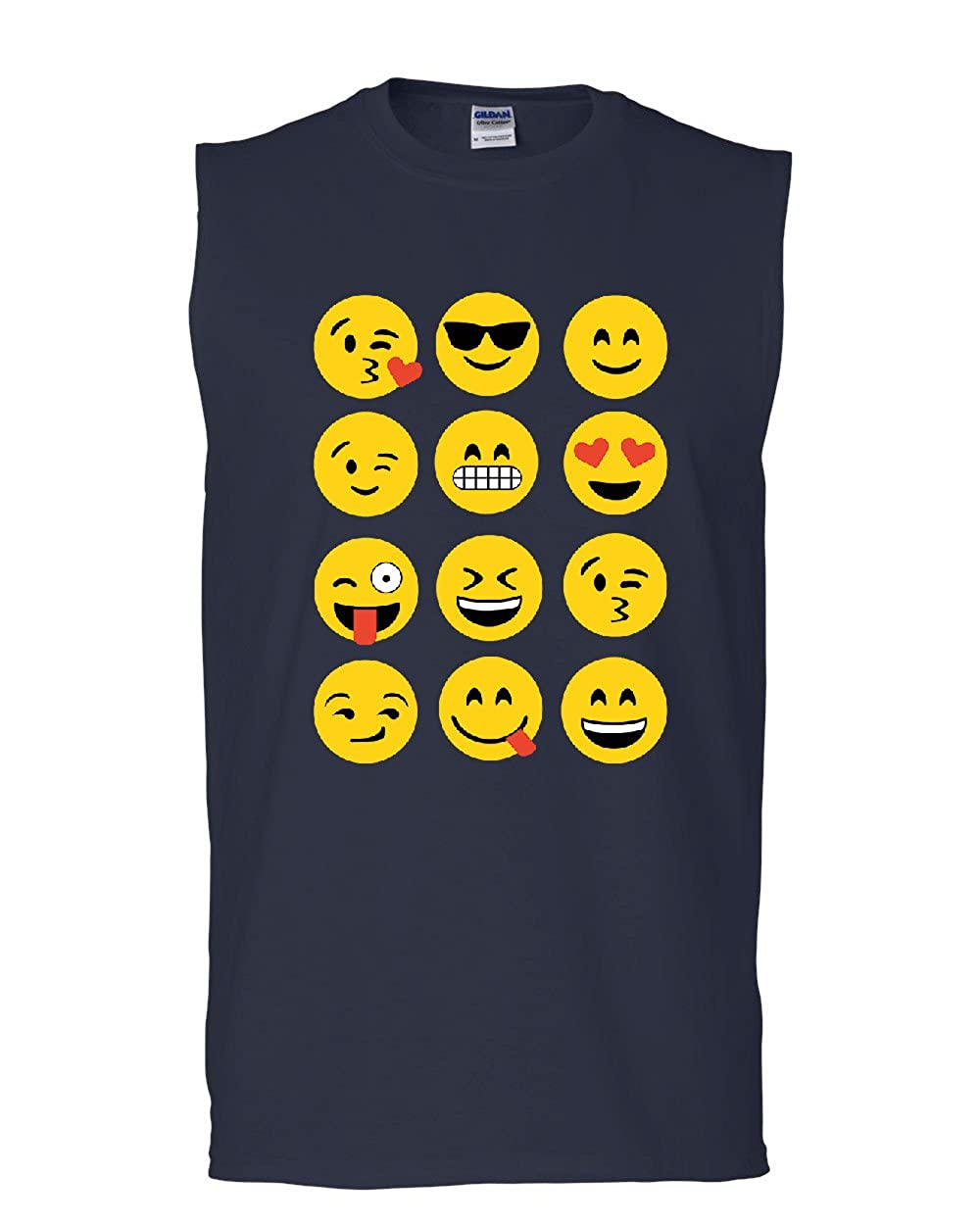 Emoji Funny Muscle Shirt Smiley Face Texting