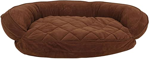 Carolina Pet Quilted Bolster Bed for Pets with Moisture Barrier Protection, Small, Chocolate
