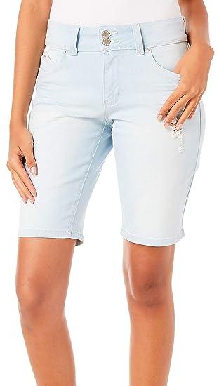 deda3aa51b740 YMI Juniors Wannabettabutt Faded Distressed Bermuda Shorts 1 Light wash