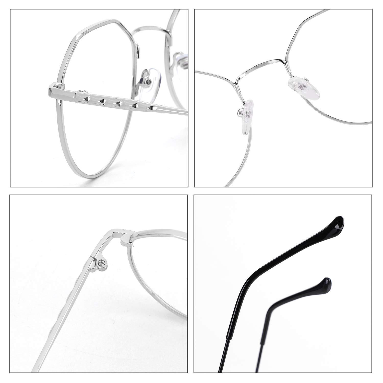 Retro Metall Brille Unregelm/ä/ßige Frame Ohne Sehst/ärke Anti-blaues Licht f/ür Herren und Damen Fernseher Computer Lesebrille Unisex Brillenfassung