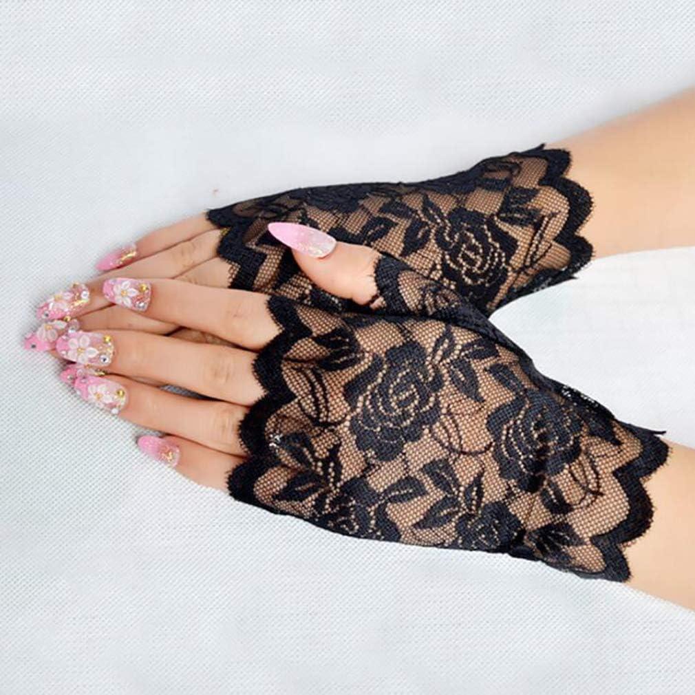 LnLyinl LnLyin Spitzenhandschuhe Damen Einfachheit Spitze Floral Kurze Handschuhe Elegante Sonnencreme Halbhandschuh Hochzeit Braut Abend Party Driving Handschuhe Rosa