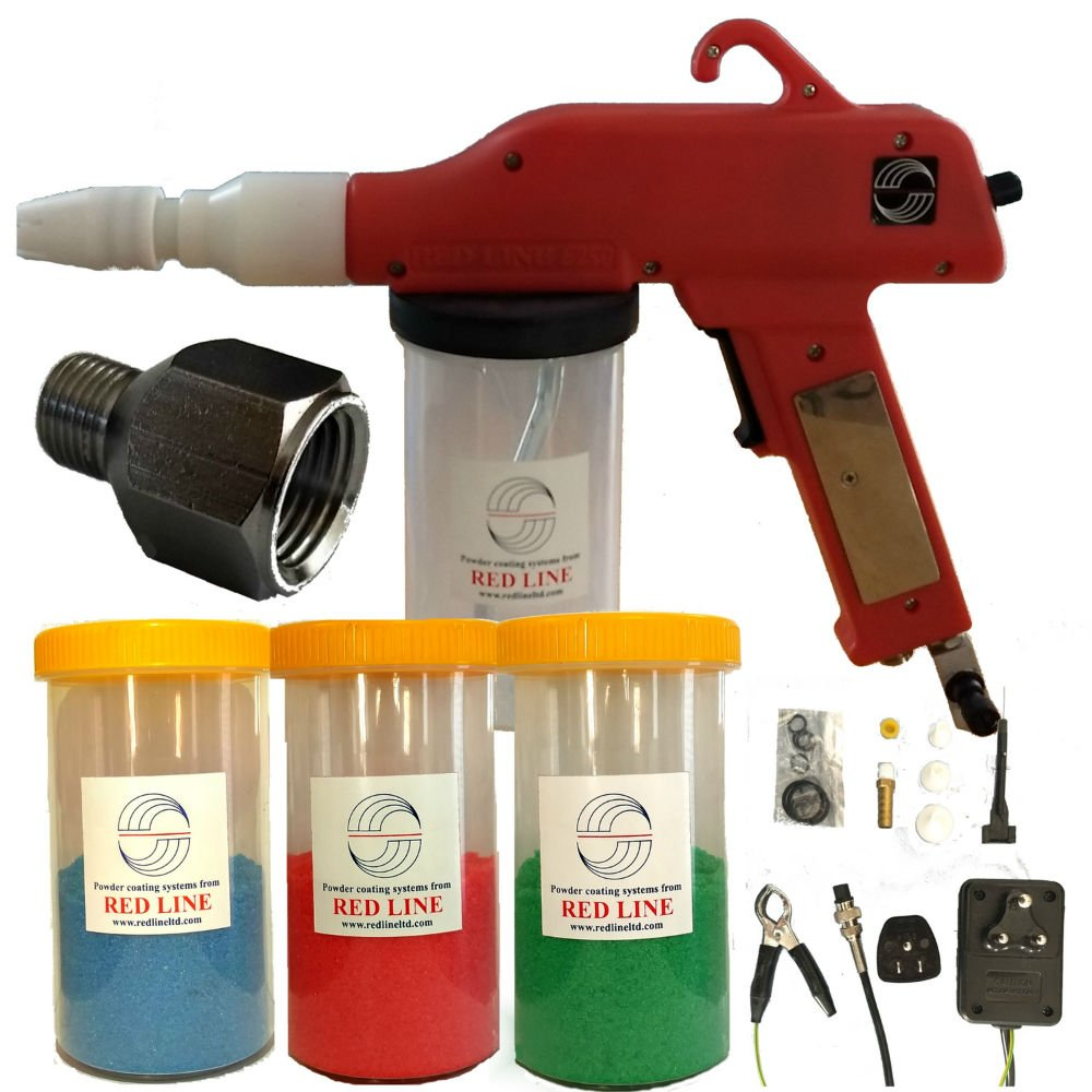 Powder Coating Gun by Redline Model EZ50 with Bonus Powder Cup Kit and U.S.A. Power and Airline Adapters