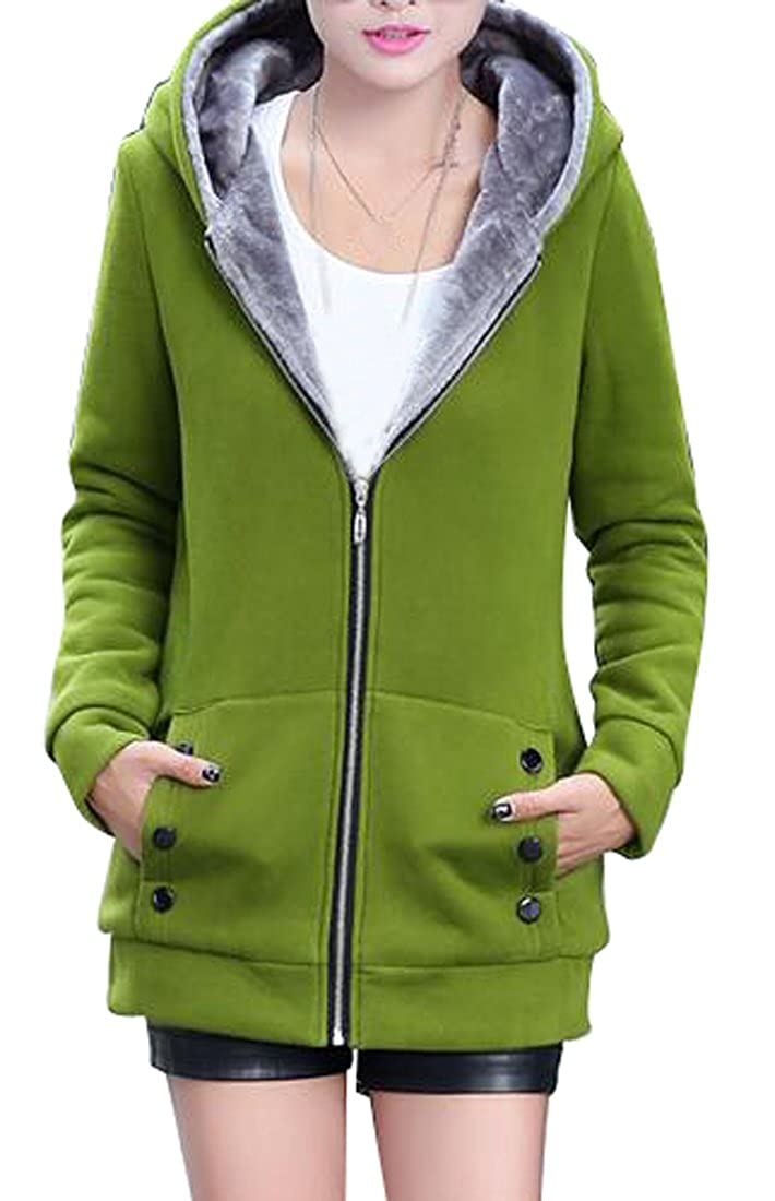 YYG Womens Long Sleeve Zipper Casual Long Hoodie Jacket Sweatshirt