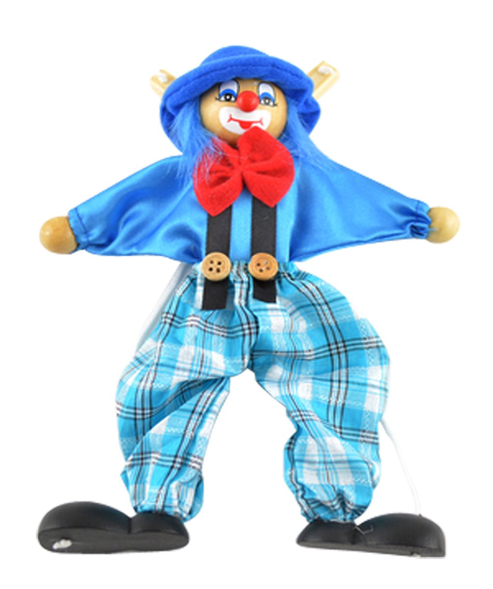 Wooden marionette PULL clown toys for children(blue)