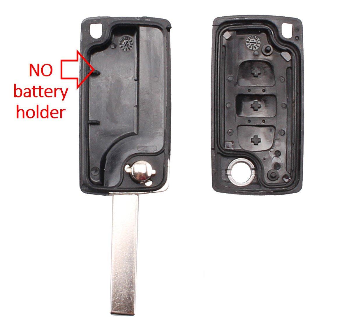 Keyfobworld sostituzione caso di vibrazione portachiavi 3 tasti di coperture chiave a distanza per Citroen C4 C5 C6 C8 a distanza