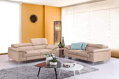 J M Furniture A973 Italian Leather Sofa in Peanut