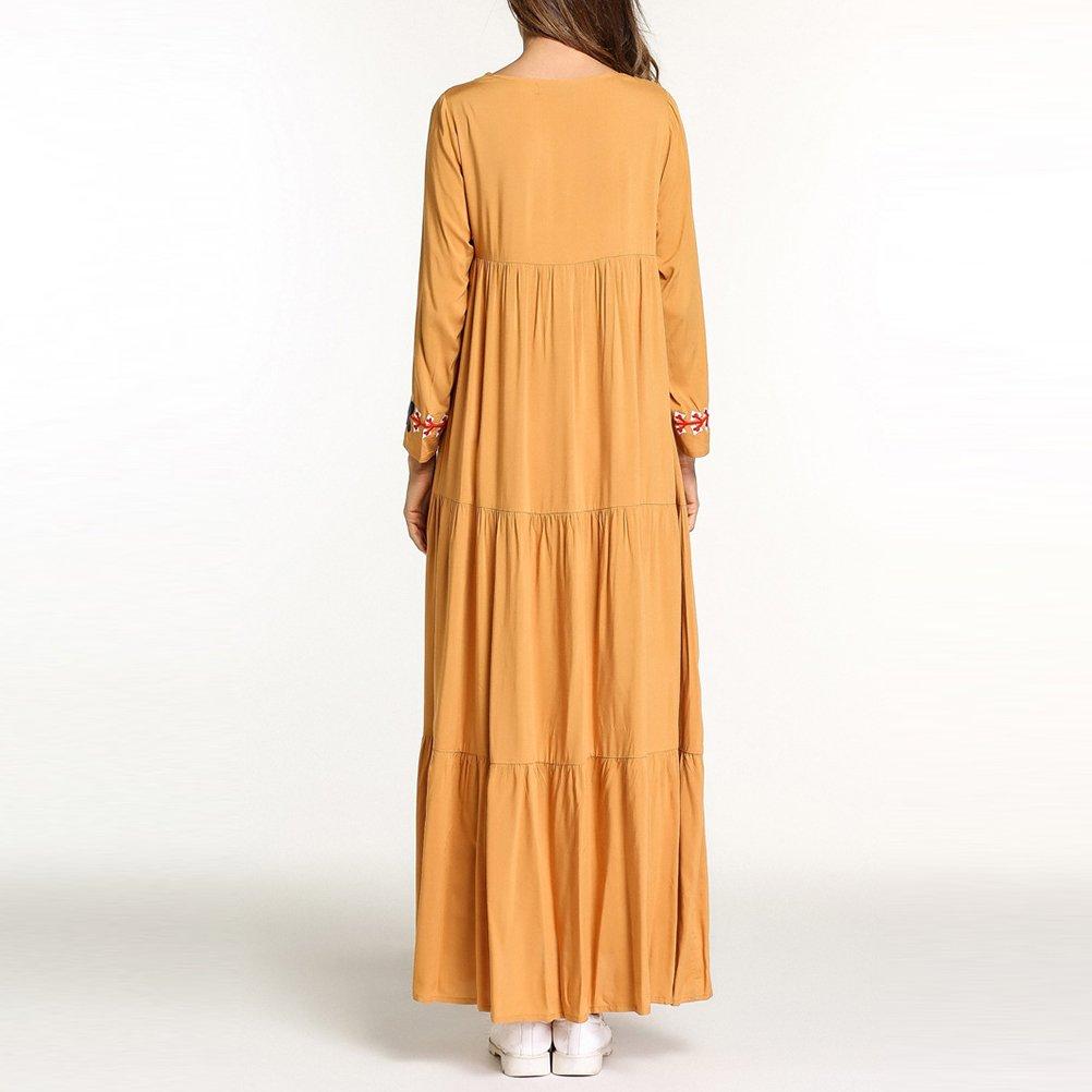 Zhhlinyuan Vestido de Kaftan de la Túnica Kaftan Maxi Estilo Vendimia árabe Suelta de Longitud Completa Ocasional Vestidos Mujer Casual: Amazon.es: Ropa y ...