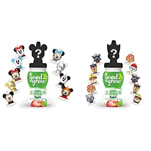 good2grow Mickey and Minnie Collector Pack 100% Apple Juice, 6-Pack of 6-Ounce Spill-Proof Character Top Bottles & Paw Patrol Collector 100% Apple Juice, 6-Pack of 6-Ounce