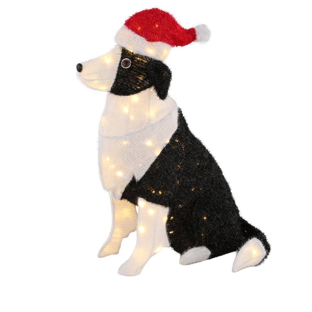 30 in. 150-Light Tinsel Dog with Santa Hat