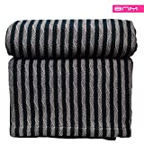 thermal bed cover - Striped Twin/Twin XL Cotton Throw Blanket, Breathable Thermal Bed/Sofa Blanket Couch, Snuggle in these Super Soft Cozy Cotton Blankets - Perfect for Layering any Bed, Black/Grey