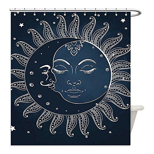 Midnight Dragonfly Costume (Liguo88 Custom Waterproof Bathroom Shower Curtain Polyester Sun and Moon Spiritual Celestial Theme Sun with Crescent Moon Midnight Art Dark Blue Slate Blue White Decorative bathroom)