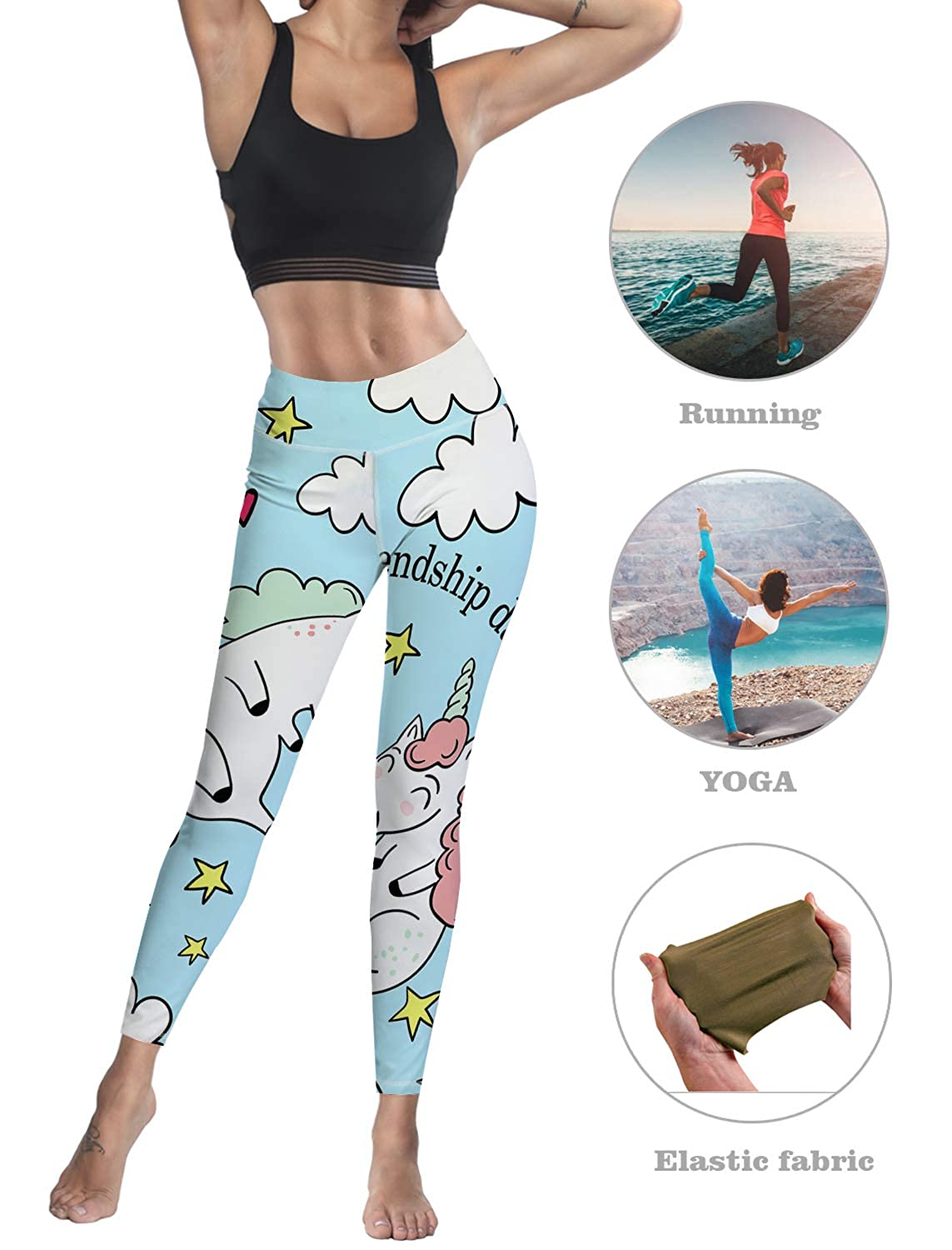 Cute Unicorn Friendship Day Leggings for Women Yoga High-Waist Tummy Control Workout Pant Tights