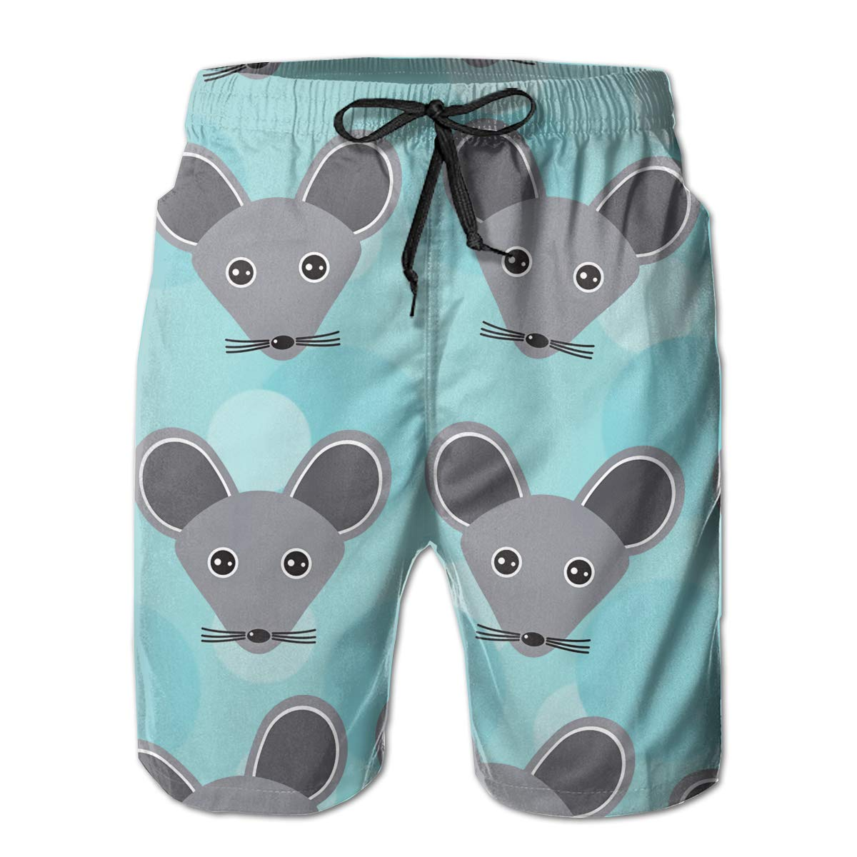 SARA NELL Mens Swim Trunks Mouse Pattern with Funny Cute Animal Face Surfing Beach Board Shorts Swimwear