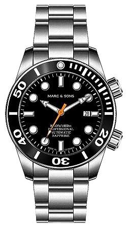 Reloj de buceo Marc & Sons 1000 m, automático, cristal de zafiro,