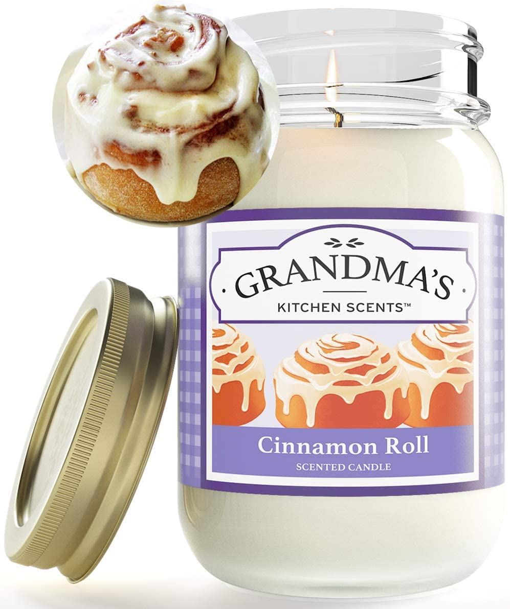 Cinnamon Roll Scented Candles for Home   Non Toxic Long Lasting Soy Candles   Delicious Scent   Large 16 oz Mason Jar   Hand Made in The USA