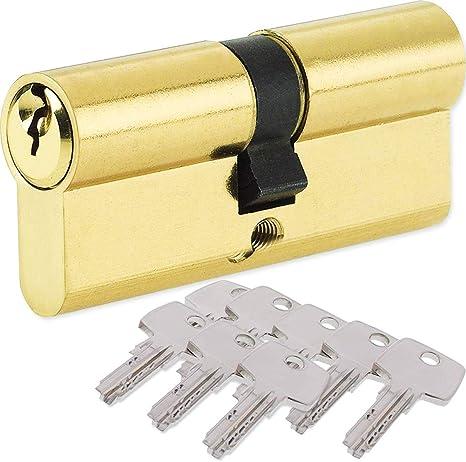Imagen deBETOY Cilindro cerradura, Cilindro de Alta Seguridad, Leva Larga, Llave - Llave, Latonado, 32.5/32.5(65mm) Cilindro de doble vuelta para puertas/entradas exteriores