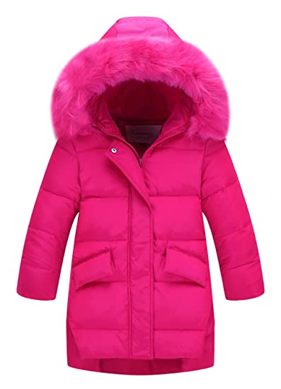 2323b08daac La Vogue Girl Faux Fur Hooded Down Coat Padded Puffer Jacket Overcoat   Amazon.co.uk  Clothing