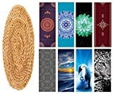 Eco Fuse Yoga Mat By Nalahome-72'x26'x3mm Thick Natural Rubber And Microfiber wicker placemat isolated on white with clippi For All Yoga Practices, Bikram, Hatha, Ashtanga, Hot Yoga, Home Workout