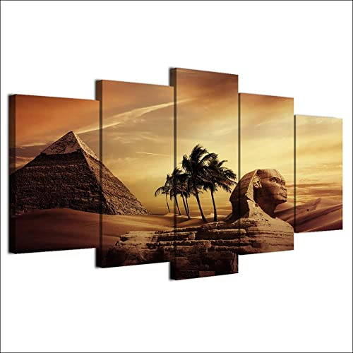 ZHFFYY Wall Decor Wall Art Pictures Frame Home Decor Living Room Poster 5 Pieces Egyptian Pyramids Painting Canvas Sunset Desert HD Printed