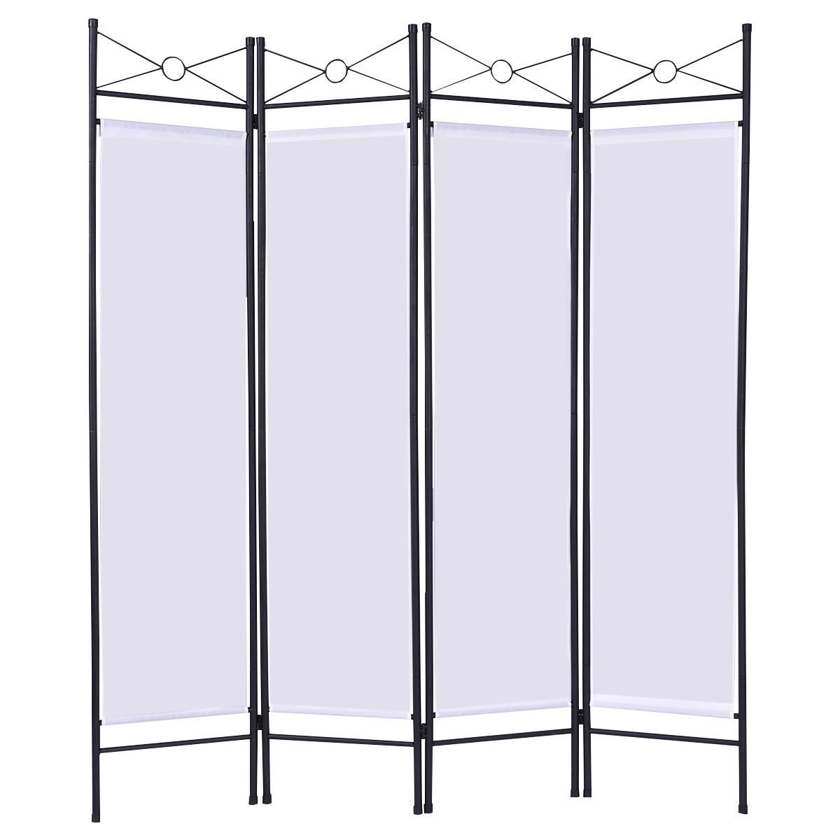 4 white 4 Panel Room Divider Privacy Folding Screen Home Fabric Metal Frame For provide you a privacy space in your home, office or other place.