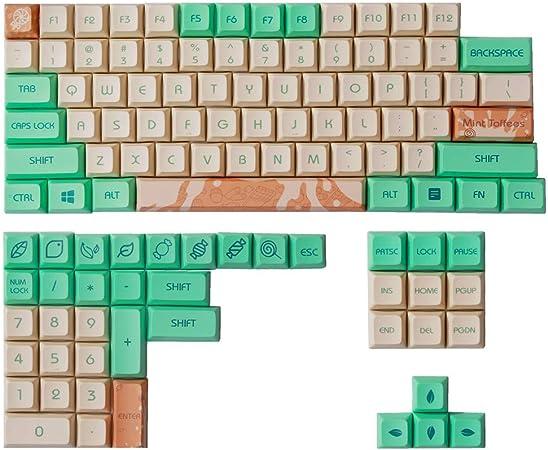 Geeksocial 104+11 Teclas PBT 5 Caras-subbed DSA Perfil XDA Compatible GK61 64 84 87 104 108 Teclados Mecánicos (Menta Toffee)