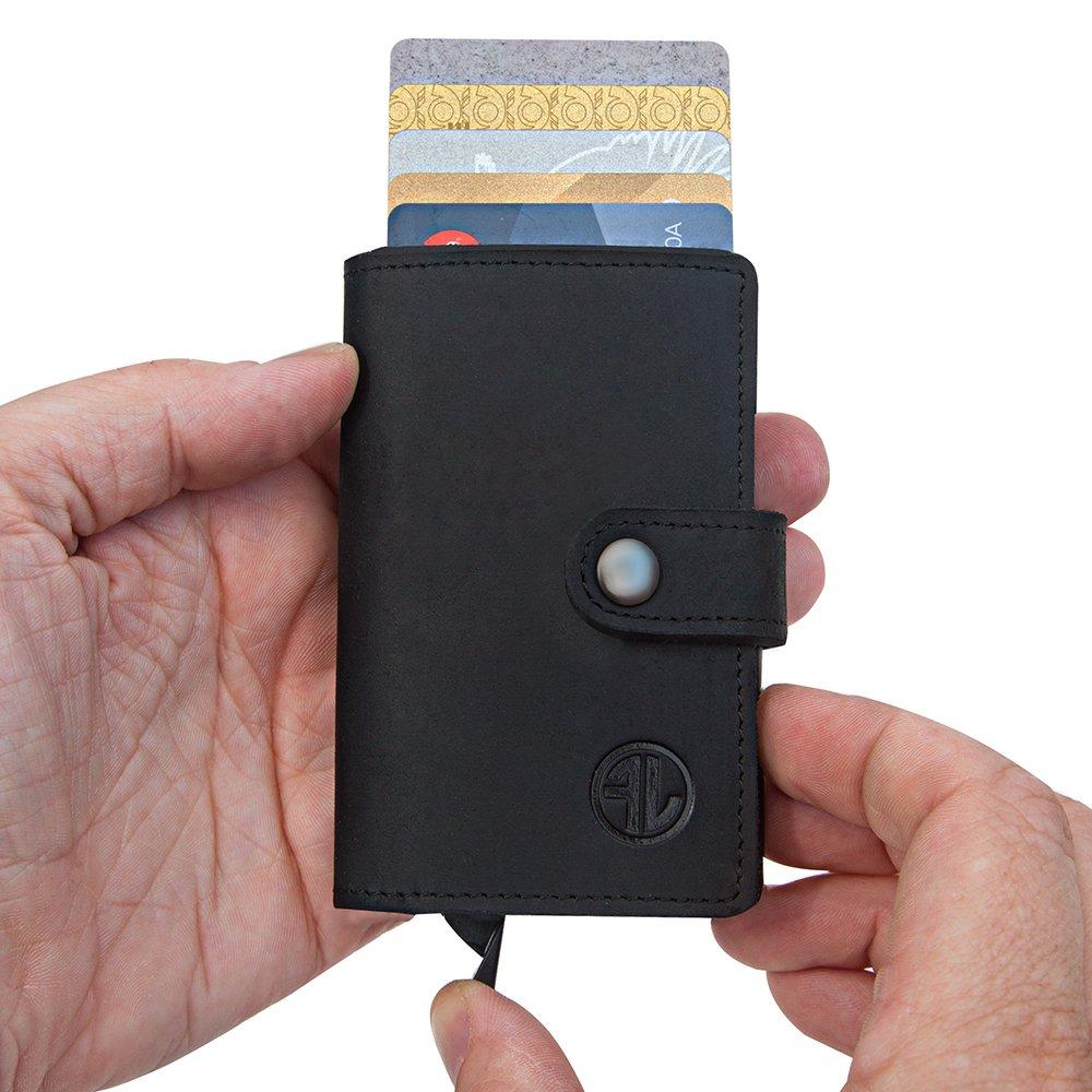 Premium Geldbörse aus hochwertigem Echt-Leder – kombiniert mit einem Kreditkartenetui Optimales Herren Portmonaie mit RFID Schutz - Praktischer und kompakter Geldbeutel (Schwarz)