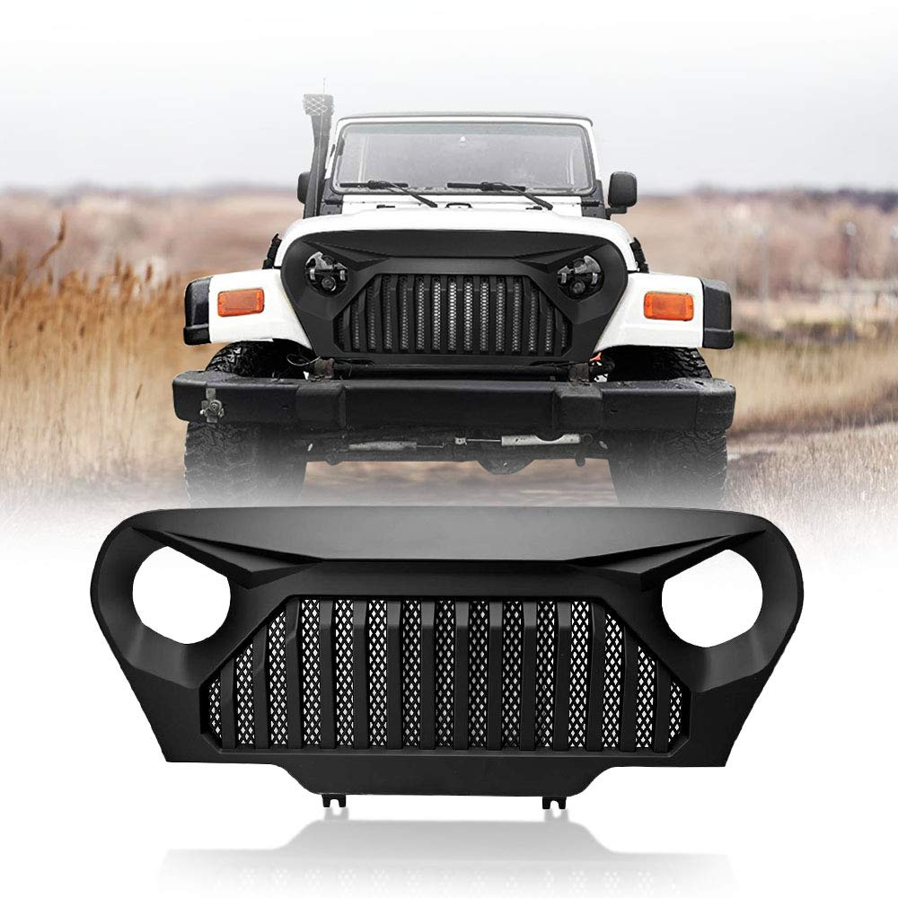AUXMART Front Grille Inserts for 1997-2006 Jeep TJ Wrangler Matte Black Clip in Grill Inserts (Pack of 7)
