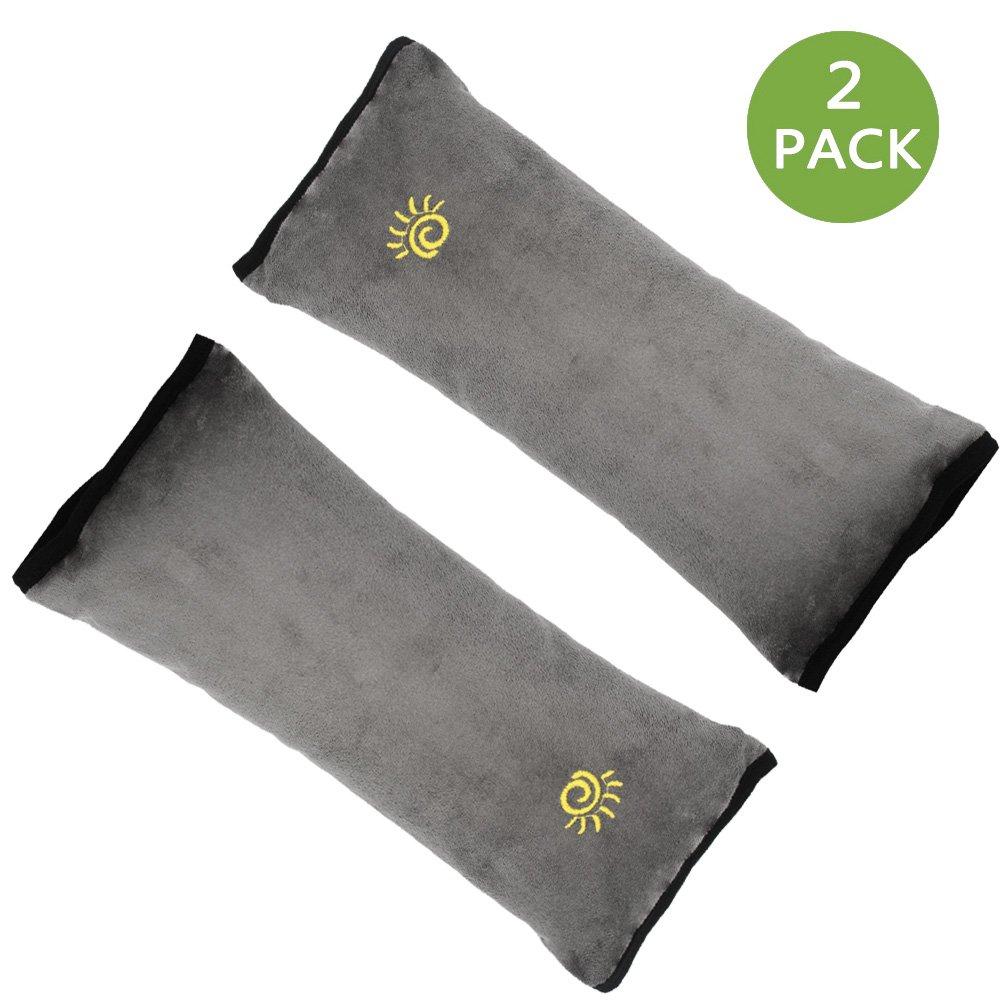 2-Pack Seatbelt Pillow, Universal Car Seat Belt Cushion Pillow, Adjustable Safety Belt Cushion for Children Baby Adult (Gray) Fododo