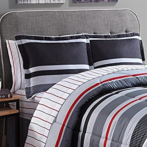 Ellison Great Value Arden Stripe 8 piece Bed in a Bag, Queen, Gray
