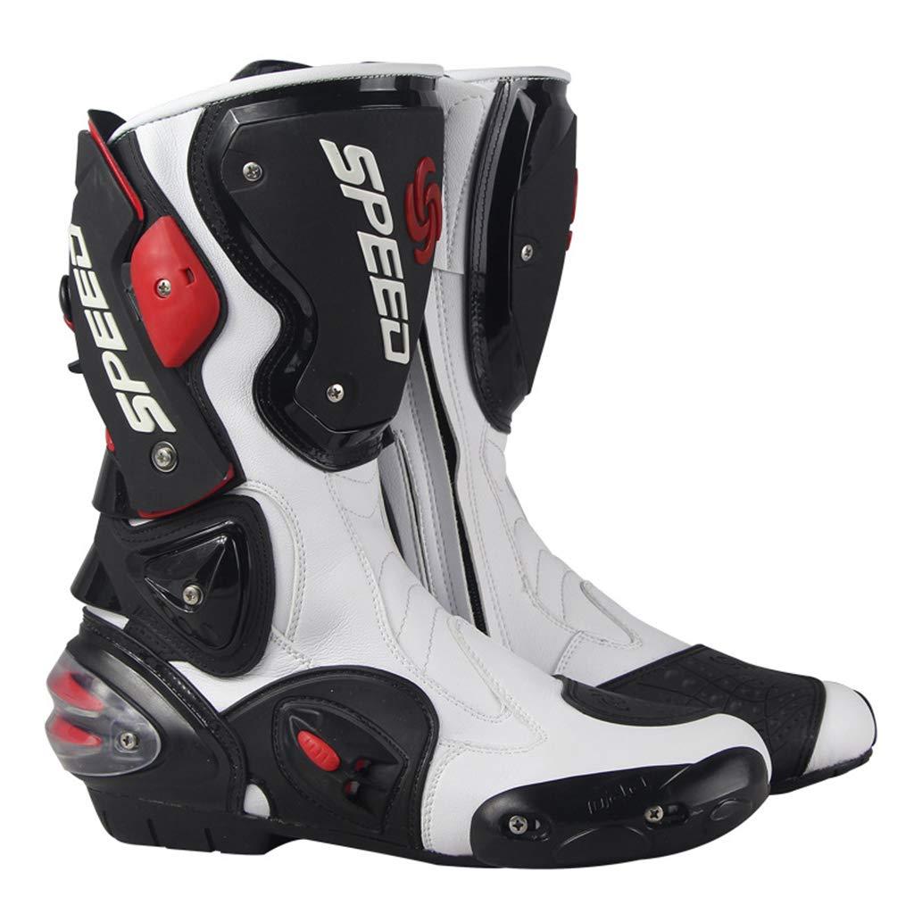 ABCWSTY para Hombre de la Motocicleta Black Boots Caja Moto Botas del Tobillo de Protecci/ón Crash Motocross Botas de equitaci/ón Transpirable Zapatos Antideslizantes Botas Racing