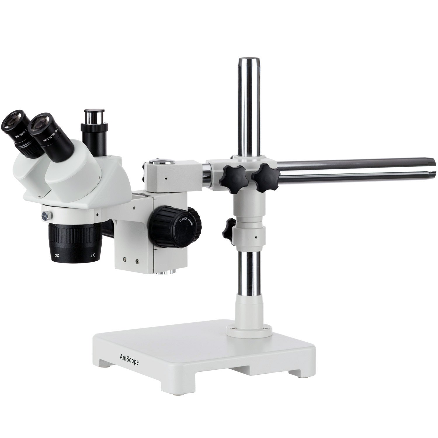 AmScope SW-3T24Z Trinocular Stereo Microscope, WH10x Eyepieces, 20X/40X/80X Magnification, 2X/4X Objective, Single-Arm Boom Stand, Includes 2.0x Barlow Lens by AmScope