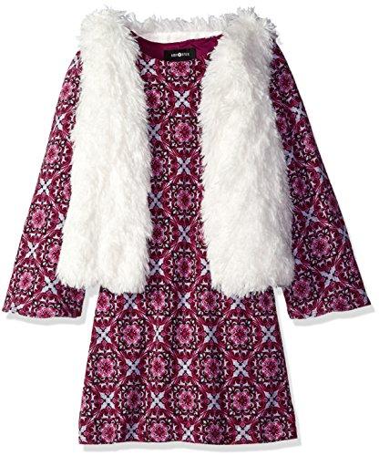 Amy Byer Big Girls' Long Sleeve Print Dress with Faux Fur Vest, Pat EL/Plum, Medium