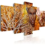 Konda Art African Sexy Woman Portrait Canvas Art Modern Abstract 5 Piece Painting for Wall Home Decor Living Room Picture Artworks Framed and Ready to Hang (Tales from Africa, 40''x 20'')